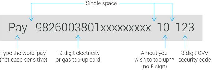 Utilita sms top-up